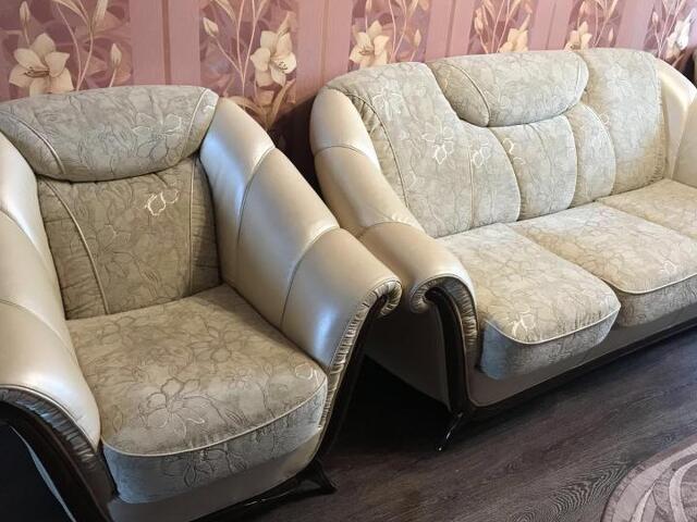 Диван с креслами кожаный - 3