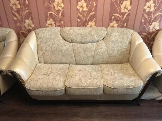 Диван с креслами кожаный - 4